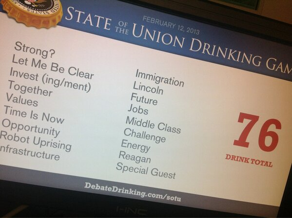 State of the Union Drinking Game Score